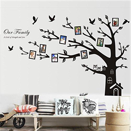 """Wall Sticker, Homecube 72 """"x 100"""" Huge Wall Art Sticker Famiglia Photo Frame Albero Sticker Murale del Vinile Decorazione con Caldo di Casa e Camino Owls Coppia Cute sull'Albero (Grande Sinistra)"""