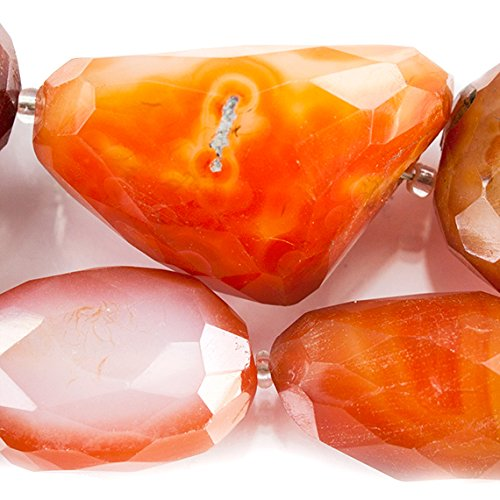 Carnelian Chalcedony Faceted Nugget Beads 15 inches 15 pieces