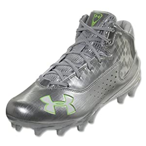 Mens Under Armour Ripshot Mid MC Lacrosse Cleat Metallic Silver Hyper Green by Under Armour