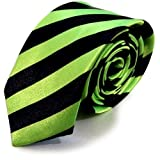 >  New Mens Satin Narrow Skinny Slim Pattern Tartan Stripe NeckTie Ties (Neon Green Stripe)