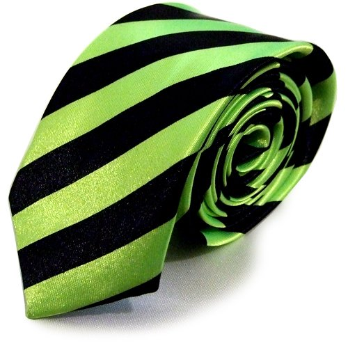 New Mens Satin Narrow Skinny Slim Pattern Tartan Stripe NeckTie Ties (Neon Green Stripe) images