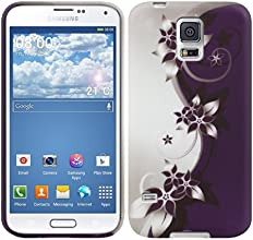 kwmobile® TPU SILICONE CASE for Samsung Galaxy S5 G900 Flower design White Purple - Stylish designer case made of premium soft TPU