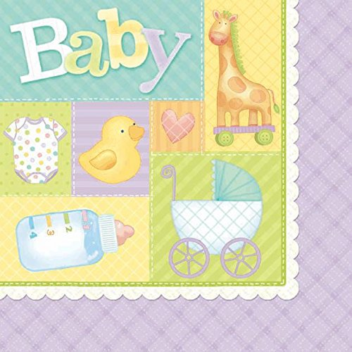 Pastel Patchwork Baby Shower Party Beverage Napkins