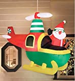 "5'6"" Animated Inflatable Helicopter Santa - Moving Hanging Outdoor Christmas Decoration with Lights"