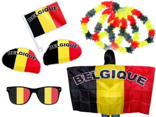 Kit XXL tifoso Belgio Belgique (FP-14) Set da 9 pezzi: 2 x coperture per gli specchietti retrovisori, 1 x piccola bandierina per la macchina, 1 x poncho, 1 x occhiali party, 4 x collane hawaiane