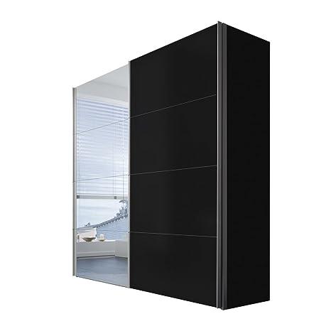Solutions 47500-708 Schwebeturenschrank 2-turig, Korpus und Front schwarz, Spiegel, Griffleisten alufarben, 68 x 200 x 216 cm