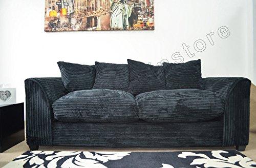 meet ea8e5 c2ed4 Best Deal Dylan Byron Black Fabric Jumbo Cord Sofa Settee ...