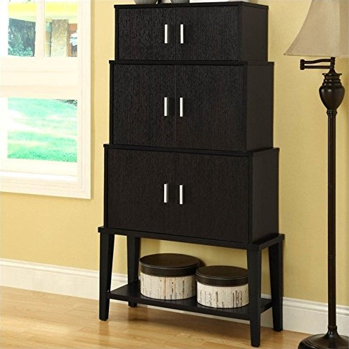 Monarch Specialties Cappuccino Stacking Style Storage Cabinet (Wall Units Furniture Living Room compare prices)