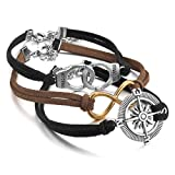 Justeel Men,Women Alloy Genuine Leather Bracelet Link Wrist Silver Black Brown Compass Handcuffs Infinity Punk Rock (with Gift Bag) (Width: 0.55