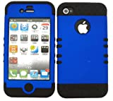 BUMPER CASE FOR IPHONE 4 4S SOFT BLACK SKIN RUBBER COATED BLUE COVER Reviews