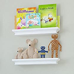 Set of 2 Children s Small Wall Shelf Wood 15.75 Inch Multi-use Bookcase Toy Game Display Organizer White