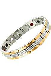 Stainless Steel Man Jewelry Magnetic Link Bracelet for Man 8.4 Inches Gold Silver Two Tone