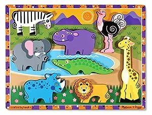 Melissa & Doug Deluxe Wooden Safari Chunky Puzzle by Melissa & Doug