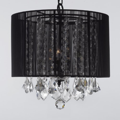 Crystal Chandelier Chandeliers With Large Black Shade! H15