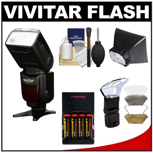 Vivitar Series 1 DF-583 i-TTL Power Zoom DSLR Wireless TTL Flash with Batteries & Charger + Soft Box + Diffuser Bouncer + Cleaning Kit for Nikon D3100, D3200, D5100, D7100, D7000, D600, D800, D4 Digital SLR Cameras