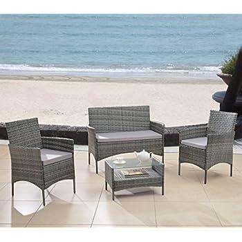 Modern Outdoor Garden, Patio 4 Piece Seat - Grey, Dark Espresso Wicker Sofa Furniture Set (Grey)