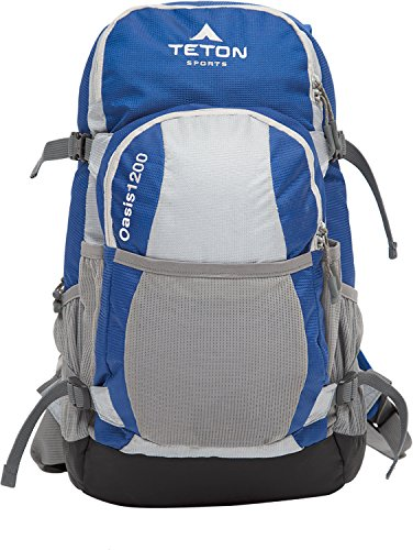 TETON Sports Oasis 1200 3 Liter Hydration Backpack Perfect for Biking, Hiking, Climbing, and Hunting; Blue/Grey (Teton Oasis 1200 compare prices)