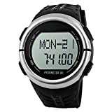 Oittm Sport Watch with Heart Rate Monitor, Fitness Activity Tracker & Running Exercise Timers, Calorie Counter, Pedometer, Countdown, Stopwatch, Dual Alarm and El Backlight with Rubber Gel Strap Digital Running Watch (B-Black)