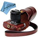 """MegaGear """"Ever Ready"""" Protective Dark Brown Leather Camera Case , Bag for Fujifilm X-M1 (XM1, X-a1) Fujifilm X-A2 Compact System with 16-50mm Lens"""