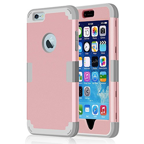 iPhone 6s Plus Cases,JDBRUIAN 3in1 Shield Series Heavy Duty Hybrid Hard PC Soft Silicone Combo Hybrid Defender High Impact Body Armor box Case for Apple iPhone 6/6S Plus 5.5' - Rose Gold & Silvery (Iphone 6 3in1 Hard Hybrid Case compare prices)
