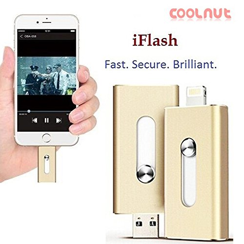 COOLNUT i-Flash Dual Port Swivel Rotatable Purpose 16GB HD & USB Flash Drive MicroSD, Micro Card Reader and 2-Port USB Hub(multi card reader,memory card reader) with Lightning Connector for Apple iPhone 5,5s,5c,6,6 Plus,6s,6s Plus, iPod touch 5, iPod nano 7, iPad Mini 1,2,3, 4, iPad 4, iPad Air 1, 2, iPad Pro, Computer, Mac, Laptop and PC adding Extra Storage easy to save image /video (Golden)