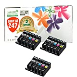 ShopAt247 ® Compatible Ink Cartridge Replacement for Canon PGI-225 + CLI-226 (3 Large Black, 3 Small Black, 3 Cyan, 3 Yellow, 3 Magenta, 15-Pack)