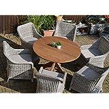 Teak Sitzgruppe Java Garten Garnitur Tisch (120 cm rund) und 6 Sessel / Stühle Rattan und recyceltes Teak