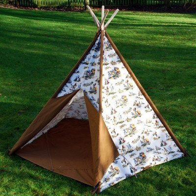 childrens-teepee-cowboy-print-wigwam-native-american-style-wooden-outdoor-tent-with-canvas-panels