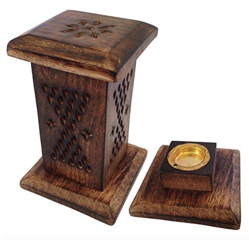 Sostenedor de incienso de madera ceniza media torre Vertical cono Wicca Boho Hippie Joss colector