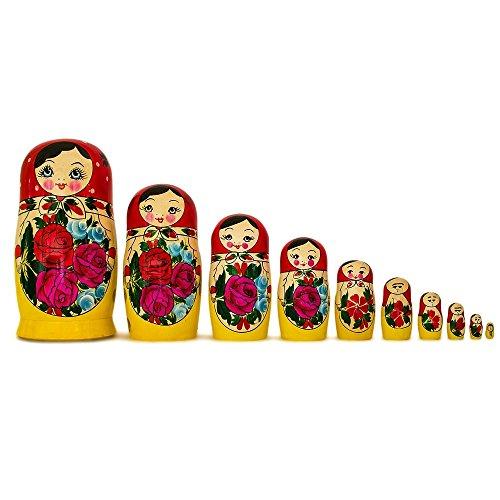 10'' Set Of 10 Traditional Semenov Russian Nesting Dolls Matryoshka