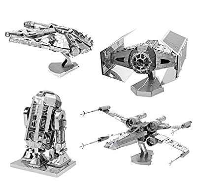 Metal Earth Star Wars 4 Pack - Millennium Falcon - X-Wing - R2D2 - Darth Vader's Tie Fighter, 3D Metal Model Kit