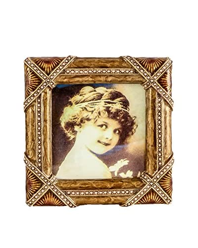 Jeweled 3 x 3 Picture Frame, Brown