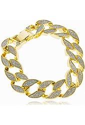 Goldtone Sandblast 8.5 Inch Cuban Chain Bracelet with Snap Clasp