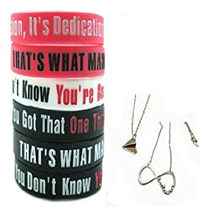 One Direction 6pcs Bracelet Wristband with 1 Pair One Direction Silver Necklace by Molie