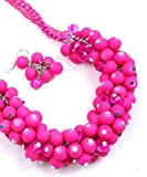 Madison Ave Fashion Neon Fuchsia Bubble Beads Necklace Set