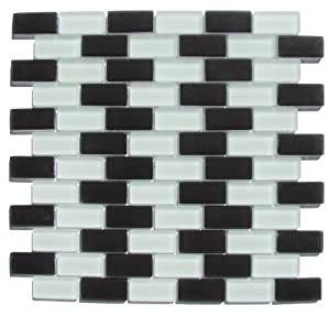 Interceramic INSBM1X2CHECT Shimmer Blends Mosaic Glass Tile, 1-by-2-Inch Tile on a 12-by-12-Inch Mosaic Mesh, Checkerboard Matte, 11-Pack