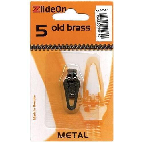 Fix-A-Zipper 3051-7 ZlideOn Zipper Pull Replacements Metal Size 5-Old Brass