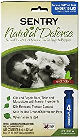 Sentry NATURAL DEFENCE Against Flea & Tick Squeeze On Dogs & Puppies UNDER 15 lb
