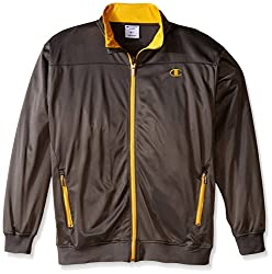 Champion Men's Big-Tall Tricot Track Jacket Chest, Charcoal/Yellow, 4X