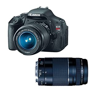 Canon EOS Rebel T3i 18 MP CMOS Digital SLR Camera with EF-S 18-55mm f/3.5-5.6 IS Lens + Canon EF 75-300mm f/4-5.6 III Telephoto Zoom Lens (DISCONTINUED)