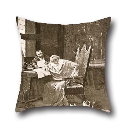 Pillowcase Of Oil Painting George Barrie - Richelieu And His Cats 20 X 20 Inches / 50 By 50 Cm,best Fit For Kitchen,christmas,home Office,sofa,bf,monther Twice Sides