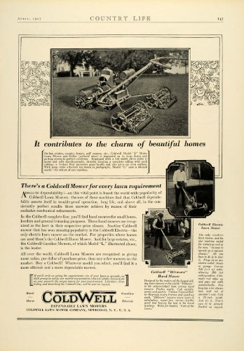 1927 Ad Antique Coldwell Electric Push Lawn Hand Mowers Landscaping Tools Ny - Original Print Ad