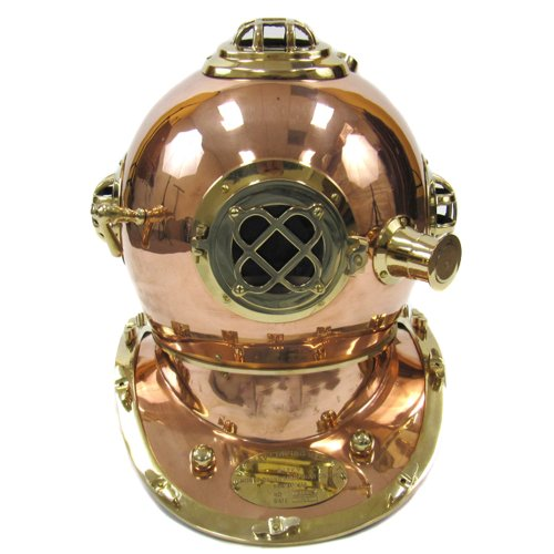 "Full-Size Replica 17"" U.S. Navy Mark-V Brass Diving Helmet"