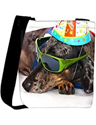 Snoogg A Dogs Life Having Fun At A Party Womens Carry Around Cross Body Tote Handbag Sling Bags