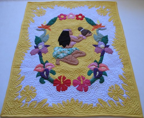 Hawaiian Quilt Baby Crib Blanket, Comforter, Wall Hanging, Hand Quilted And Machine Appliqued front-106458