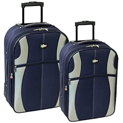 Karabar Set of 26 & 22 Inch Super Lightweight Suitcases (Navy/Silver) by Karabar