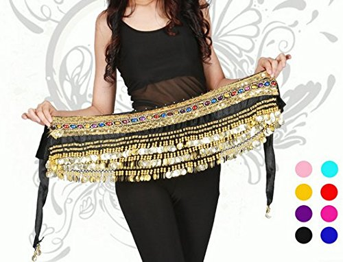 Orino™ Women Belly Dance Dancing Hip Scarf Wrap Costumes Golden 248 Coins Belt Velvet Skirt with Two Gold Lines (Black)