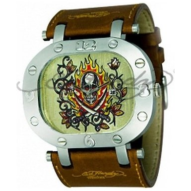 Ed Hardy gents fire and skull design dial brown leather strap watch