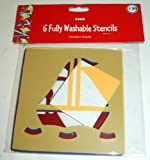 6 Fully Washable Stencils - Plane And Boat
