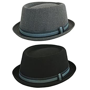 New Mens Ladies Grey Pork Pie Hats With Green & Black Band Black (57cm)